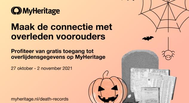 Vier Halloween met gratis overlijdensgegevens van MyHeritage