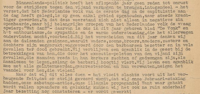 Fragment uit socialistisch blad De Vonk van half december 1941, waarin op strijdbare toon wordt teruggeblikt op de Februaristaking eerder dat jaar (bron: Delpher)