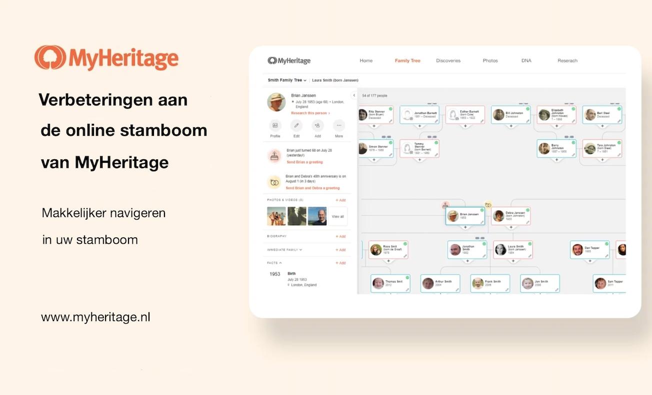 Verbeteringen in de online stamboom op MyHeritage