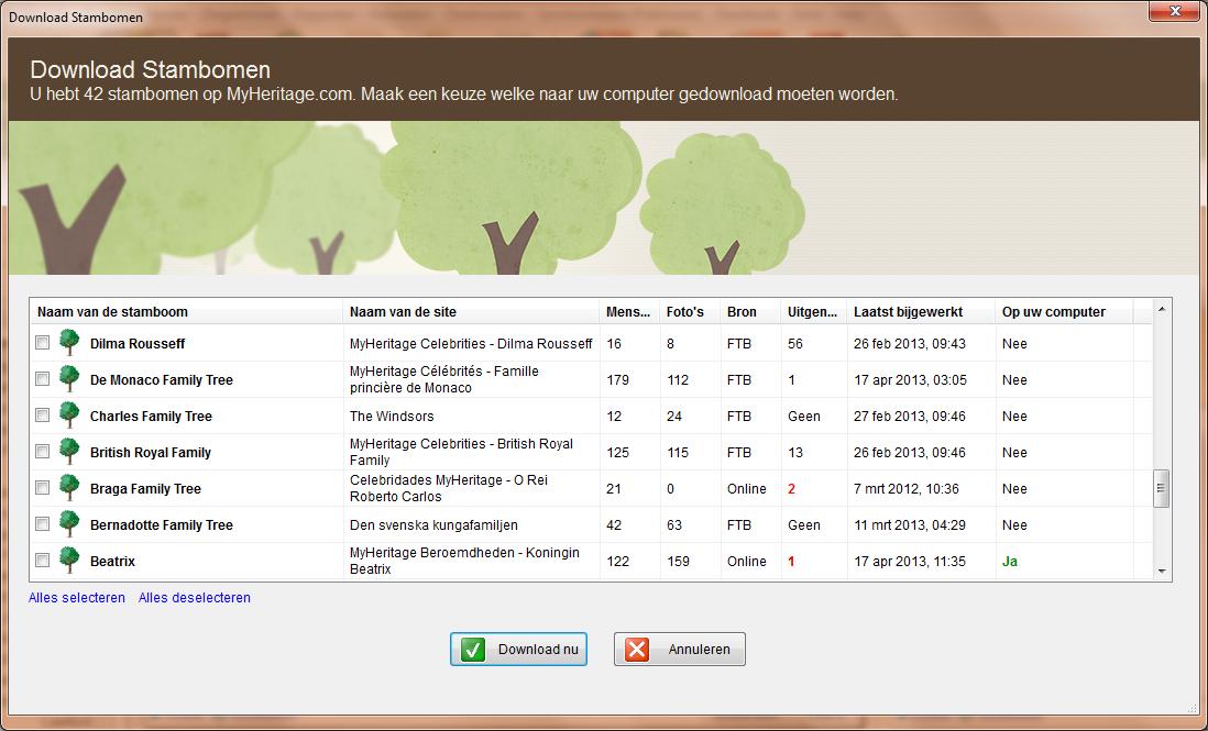 Met Family Tree Builder 7.0 kunt u uw online stambomen downloaden